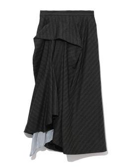 Unbalanced tucked skirt