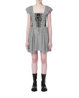 Striped drawstring dress
