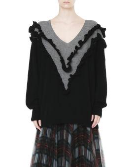 Ruffled knit sweater