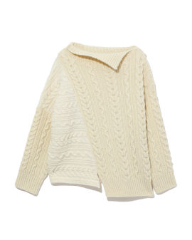 Asymmetrical cable knit sweater