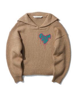 Heart spray knitted hoodie