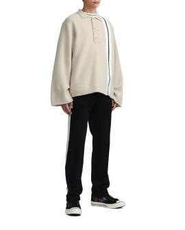Fleecy knit polo shirt
