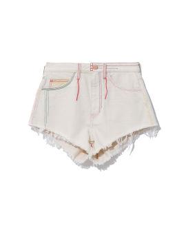Rainbow stitches denim shorts