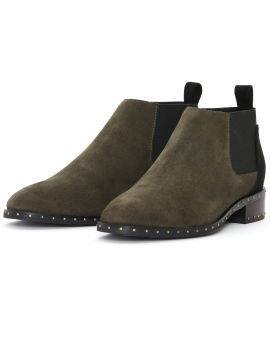 Suede studded chelsea boots