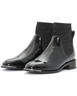 Patent leather-effect ankle boots
