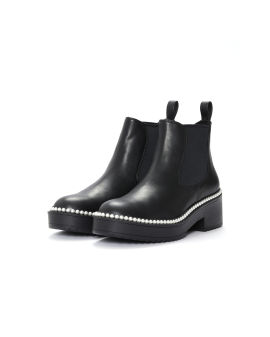 Faux pearl-embellished ankle boots
