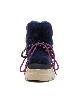 Fur-style low platform boots