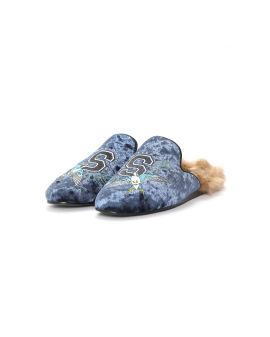 Plush embroidered slippers