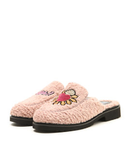 Graphic patch fuzzy mules