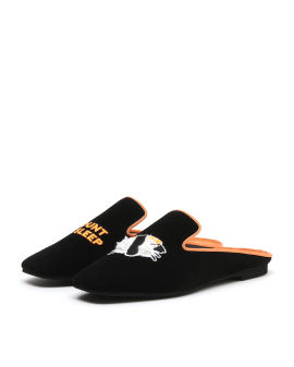 Graphic embroidered patch mules