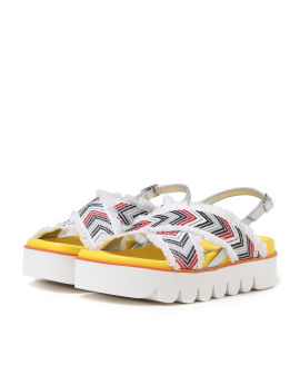 Chevron knit strap sandals