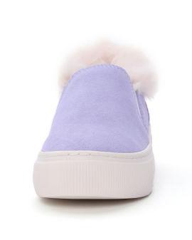 Fluffy platform slip-ons