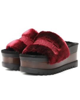 Furry platform slippers