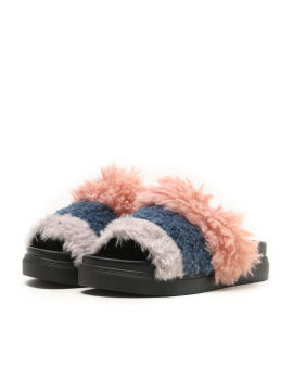 Fuzzy tri-colour slippers