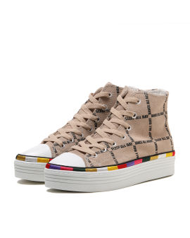 Colourblock trim graphic platform sneakers