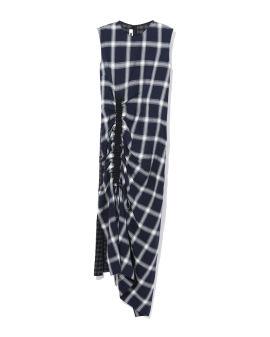 Ruched plaid dress