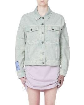 Cut-out sleeve denim jacket