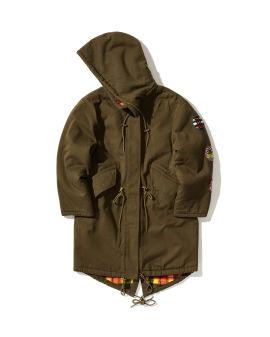 Patched parka jacket