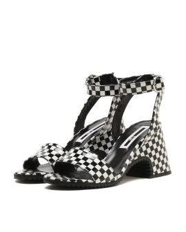 Checkerboard chunky heels