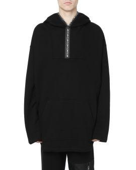 Logo tape half zip hoodie