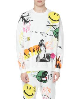Graffiti oversized crew neck sweatshirt