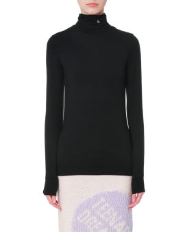 Logo embroidered roll neck top