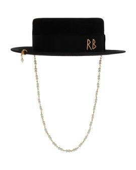 Pearl canotier hat
