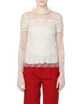 Floral embroidery sheer top