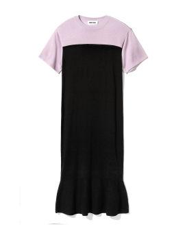 Two-tone fishtail hem dress