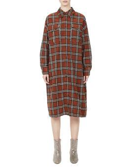 Plaid corduroy shirt dress