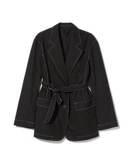 Contrast stitch belted blazer