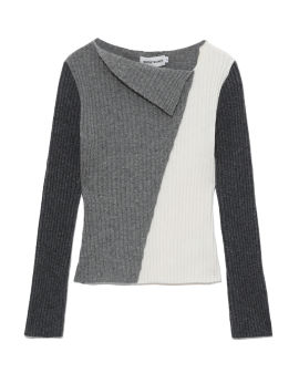 Colour blocked draped knit top