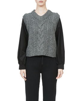 Panelled cable knit sweater