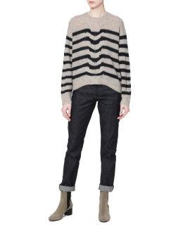 Mia striped wool alpaca cable sweater