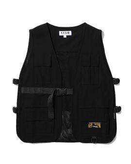Logo print belted vest