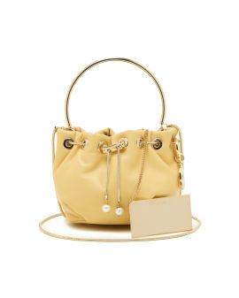 Tulle leather top handle bag