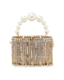 Holli faux pearl crystal and satin bag