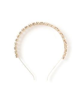 Polka crystal and faux pearl headband