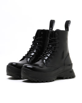Trace faux leather combat boots