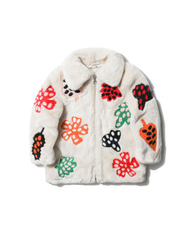 Embroidered fuzzy coat