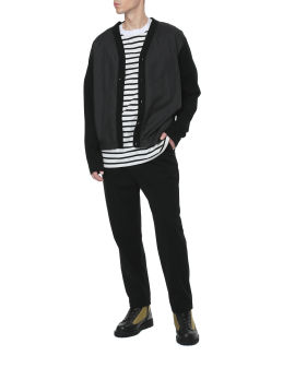 Wide belted baggy tuck tapered pants
