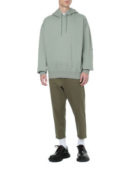 Star elbow patched wide hoodie