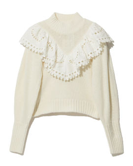 Broderie anglaise collar sweater