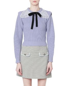 Guipure collar sweater