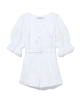 Broderie anglaise V-neck playsuit