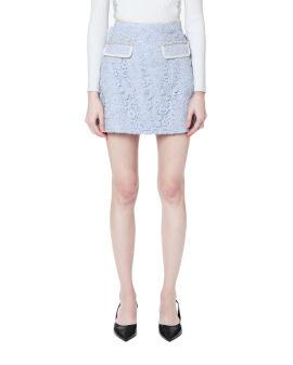 Guipure lace mini skirt