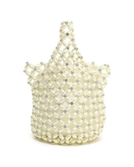 Faux pearl & crystal beaded pouch