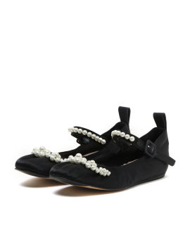 Faux pearls embellished ballerina flats