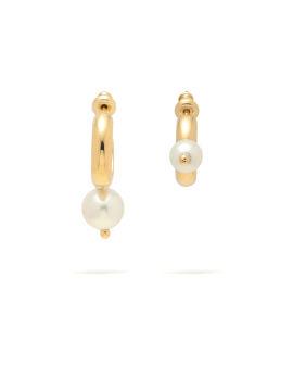 Asymmetric pearl hoop earrings