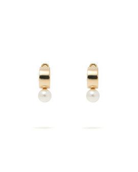 Faux pearl and metal hoop earrings